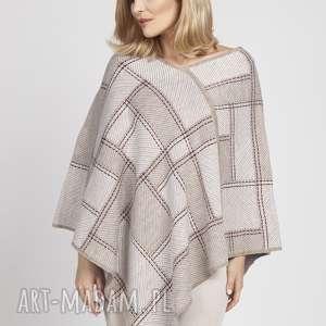 swetry lekkie poncho, swe174 ecru/ mocca / bordo mkm, lekkie, modne