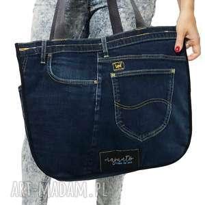 na ramię duża torba upcykling jeans 38 lee od majunto, jeans