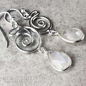 925 Srebrne kolczyki kamień księżycowy - ,kamień,minerał,kryształ,925,srebro,srebrne,