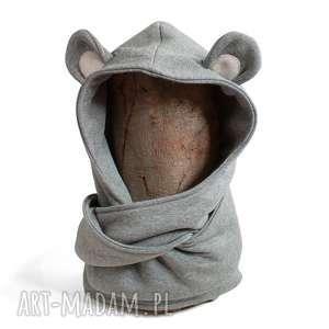 komin z kapturem dla dziecka - myszka, mysz, zwierzę, uszy, leśne, ciepły