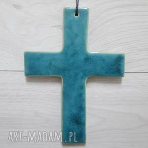 turkusowy krzyż ceramiczny, krzyż, z ceramiki, komunia pamiątka, chrzest