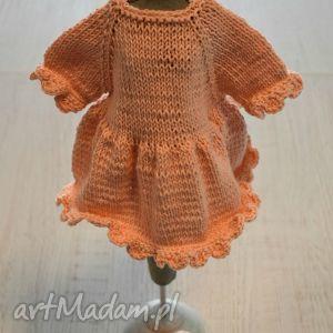 Ubranko dla lalki, misia 40 cm - ,ubranko,sukienka,buciki,lalka,miś,włóczka,