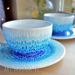 Prezent Filiżanki ręcznie malowane Błękitne ombre, dla-pary, prezent-ślubny
