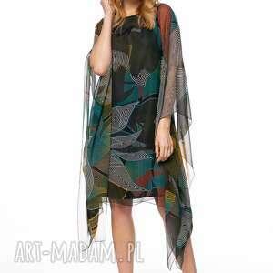 unikalny, sukienka loan, szyfonowa, luźna, wzory, jesienna, kolorowa, lekka