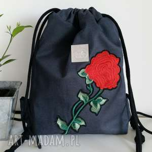 e6cee27a0b517 ... plecak - róża, plecak, worek, denim, wodoodporny, unikat