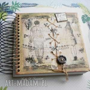 Prezent Notatnik/sekretnik dla Niej i Niego, notatnik, szkicownik, sznurek, guzik