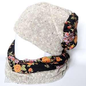 komplet zimowy damski retro kolor len, czapka, chusta, komin, retro, kwiaty, etno