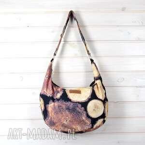 na ramię brązowa torba w drewno hobo ramię, torebka, drewno, pojemna, prezent