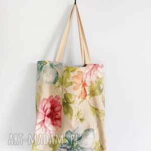torba w kwiaty xxl, len, lniana, torba, duża, kwiaty, prezent na święta