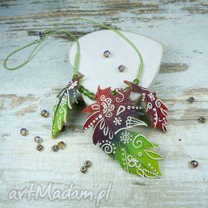 kameleon naszyjnik kolorowe pióra w stylu boho, naszyjnik, biżuteria