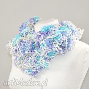 fantazyjny szal - błękit - apaszka, ozdoba, szalik, błękit, zimowy