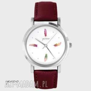 zegarek - piórka kolorowe bordo, wino, skórzany, zegarek, bransoletka, skórzany