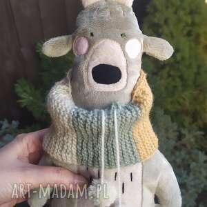 bamsi, jeleń w kominie z pomponami - leśna przytulanka z minky - dziecko, włóczka