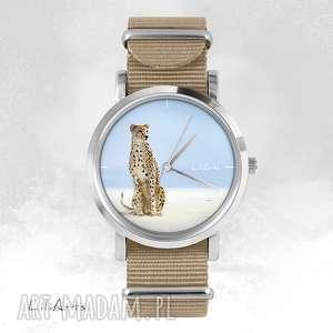 zegarki zegarek, bransoletka - gepard beżowy, nato, bransoletka, nato
