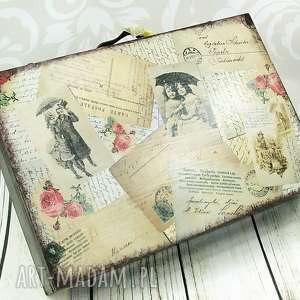 drewniana walizka - vintage poscard, walizka, pudełko, na, zdjęcia, vintage, drewno