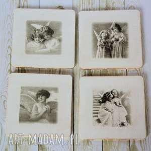 handmade podkładki komplet - pod kubek aniołki
