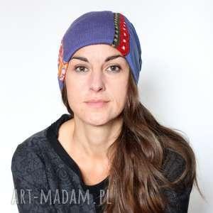 czapka damska patchworkowa kolorowa, czapka, patchwork, damska, dzianina, kwiaty