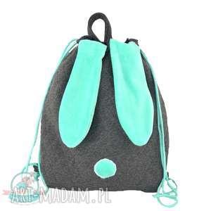 Worek-plecak królik turkusowy, kapcie, szkoła, w-f, dziecko, przedszkole, worek