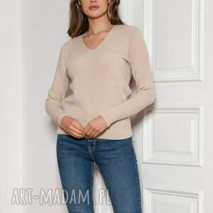 sweter w prążek - swe146 beż, sweter, beżowy prążek