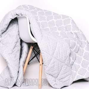 ręcznie zrobione koce i narzuty narzuta fresh grey 155x205cm od majunto