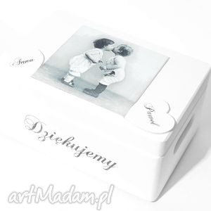 Slubne pudełko na koperty Kopertówka Personalizowane Love Napis Dziękujemy