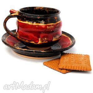 filiżanka z talerzykiem - jtnr127 , filiżanka, talerzyk, ceramika, naczynie, unikat