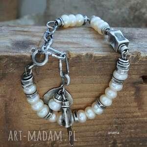 hand-made perły ecru - bransoletka