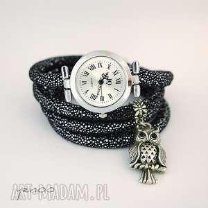zegarek, bransoletka - sowa owijany, czarno srebrny