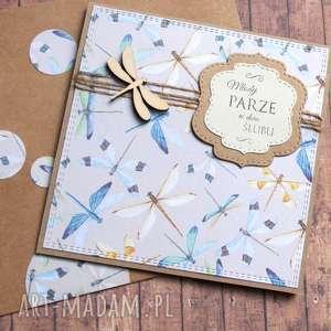 kartka ślubna handmade ważki, ślub, ważka
