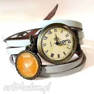 pomarańca - zegarek btansoletka na skórzanym pasku - pomarańczka