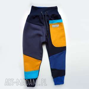 handmade ubranka patch pants spodnie 110 - 152 cm granat & żółty