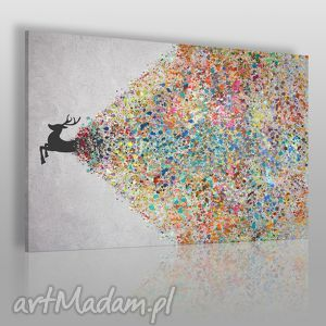 obraz na płótnie - jeleń kolory 120x80 cm 49401, jeleń, artystyczny, kolory, kropki