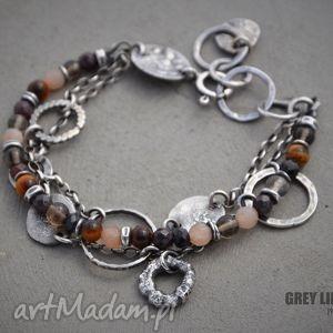 bransoletki bransoletka mieszana w brązach, srebro, granat, kwarc, kamień, słoneczny