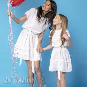 handmade sukienki komplet sukienek z ozdobną falbanką, model 30, biały