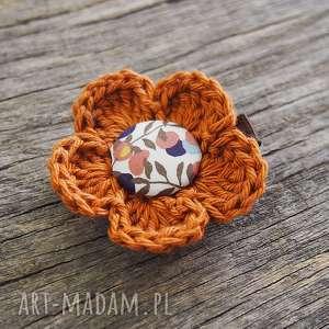 momilio art spinka do włosów jesień, szydełkowe, spinki