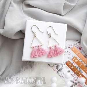 kolczyki kolczyki boho - pink and silver