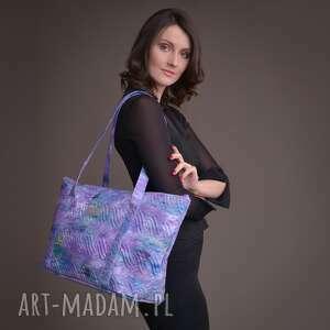 handmade torebki duża torba pikowana z materiału fioletowa