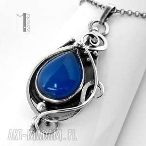 blueberry - srebrny naszyjnik z agatem brazylijskim - srebro, metalopolastyka, agat