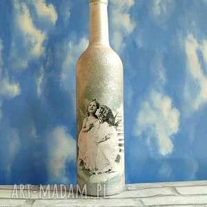 anioły butelka szklana ręcznie malowana magisches atelier, dekoracja