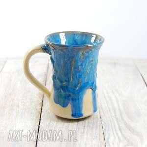 Kubek ceramiczny zaciekowy , błękit, walentynki, do-pracy, do-herbaty, dzień-kobiet,