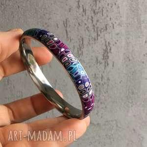 ręcznie robione bransoletka w fiolecie i turkusie