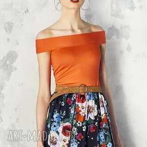hand-made bluzki pomarańczowa bluzka z odsłoniętymi ramionami