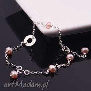 delikatna bransoletka z łososiowych pereł, srebrna, bransoletka, perły, naturalne