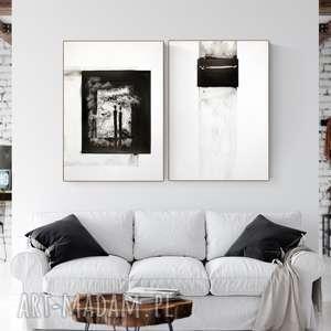 zestaw 2 grafik 50x70 cm wykonanych ręcznie, abstrakcja, elegancki minimalizm, obraz
