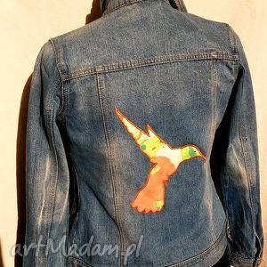 katana jeansowa z kolibrem - jeans, naszywka, denim, koliber, recykling, bawełna