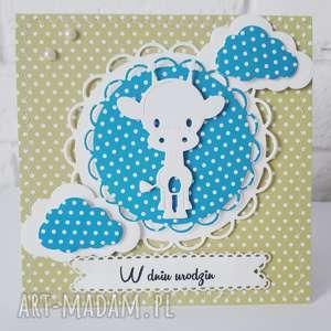 urodzinowa kartka dla dziecka, urodziny, żyrafa, personalizacja, cardmaking