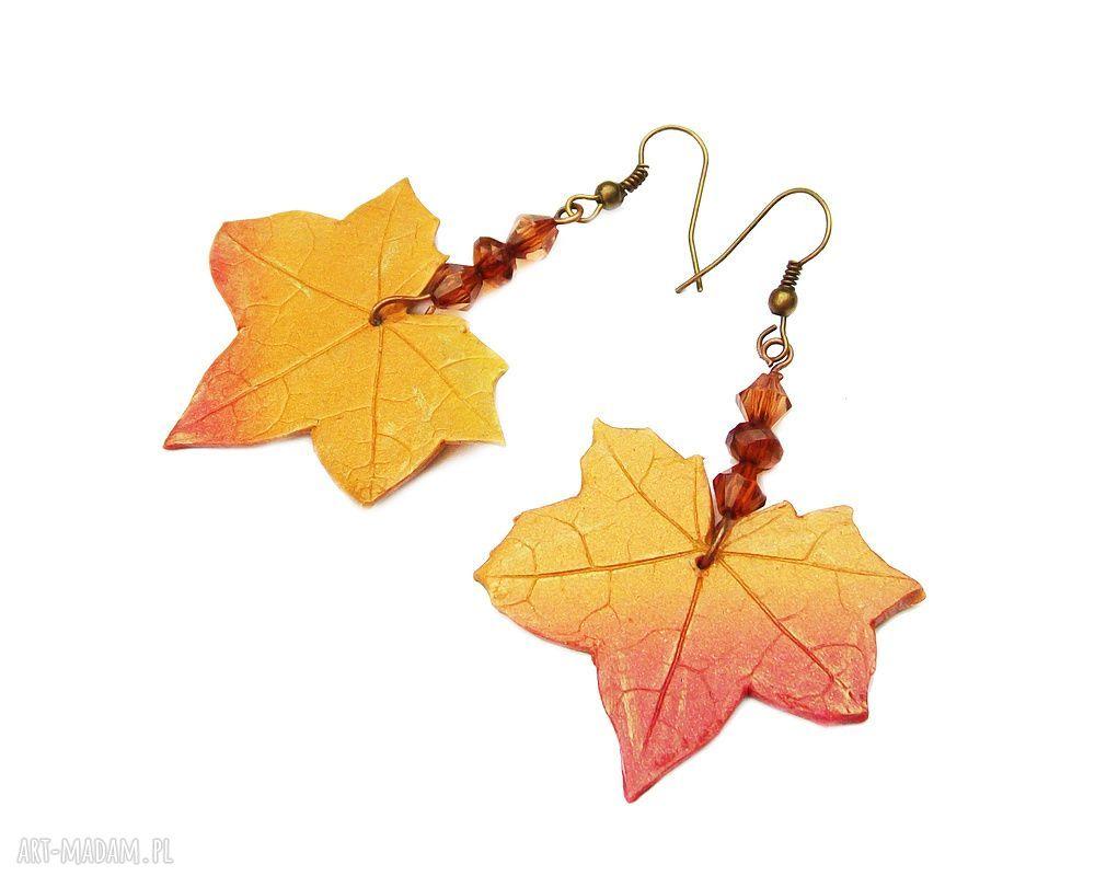 handmade kolczyki kolczyki liście klonu