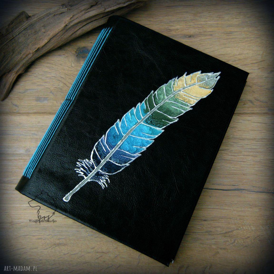 ręcznie wykonane notesy notes a5 z twardą okładką z imitacji skóry niebieskie pióro - ręcznie robiony i malowany