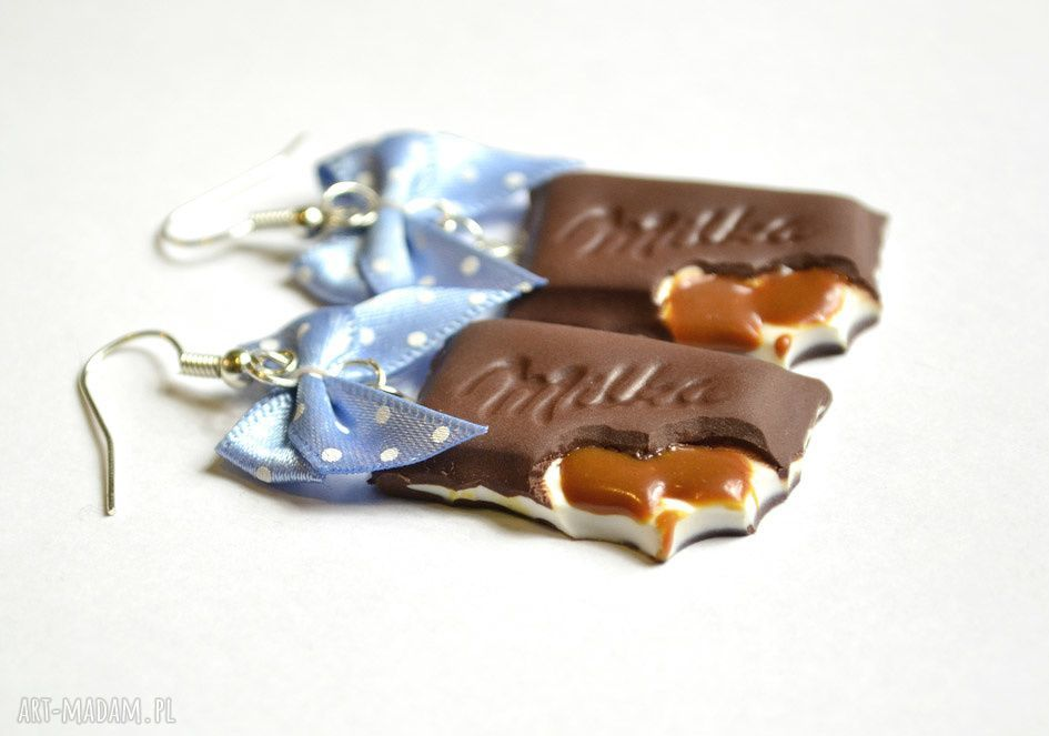 ręcznie wykonane kolczyki kolczyki czekoladki toffi