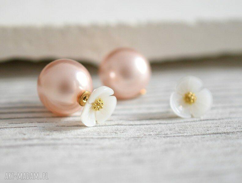 ręcznie zrobione kolczyki perły podwójne kwiat i różowa